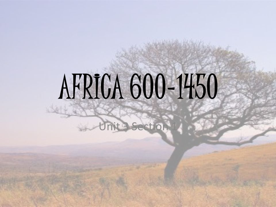 AFRICA 600-1450 Unit 3 Section 1