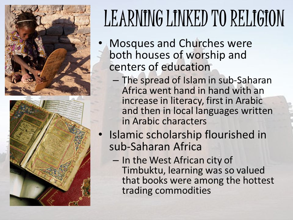 LEARNING LINKED TO RELIGION
