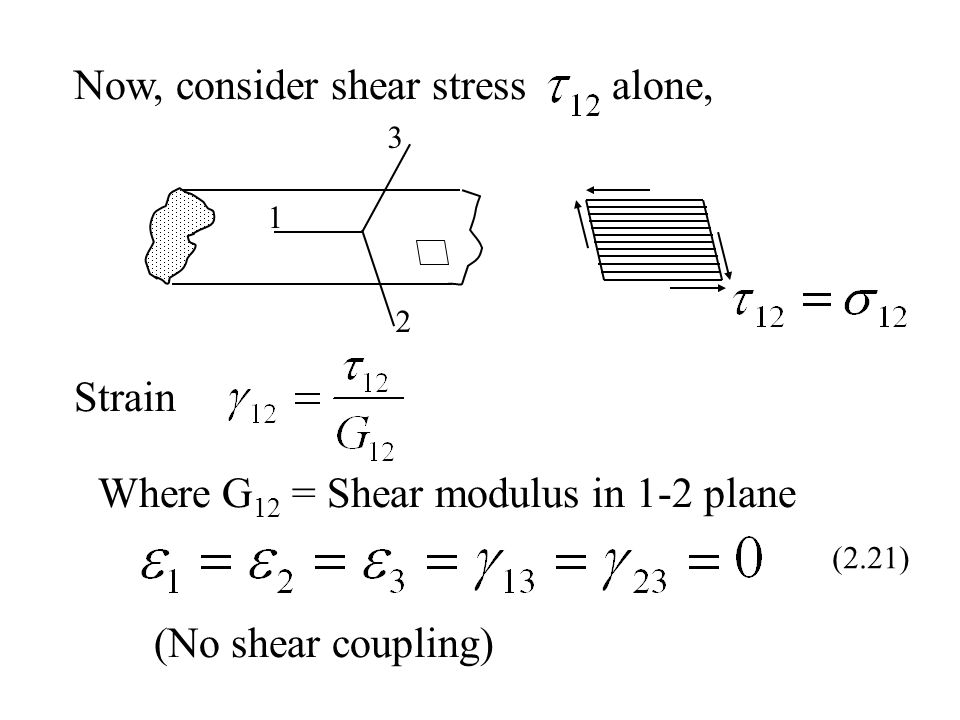 Now, consider shear stress alone,