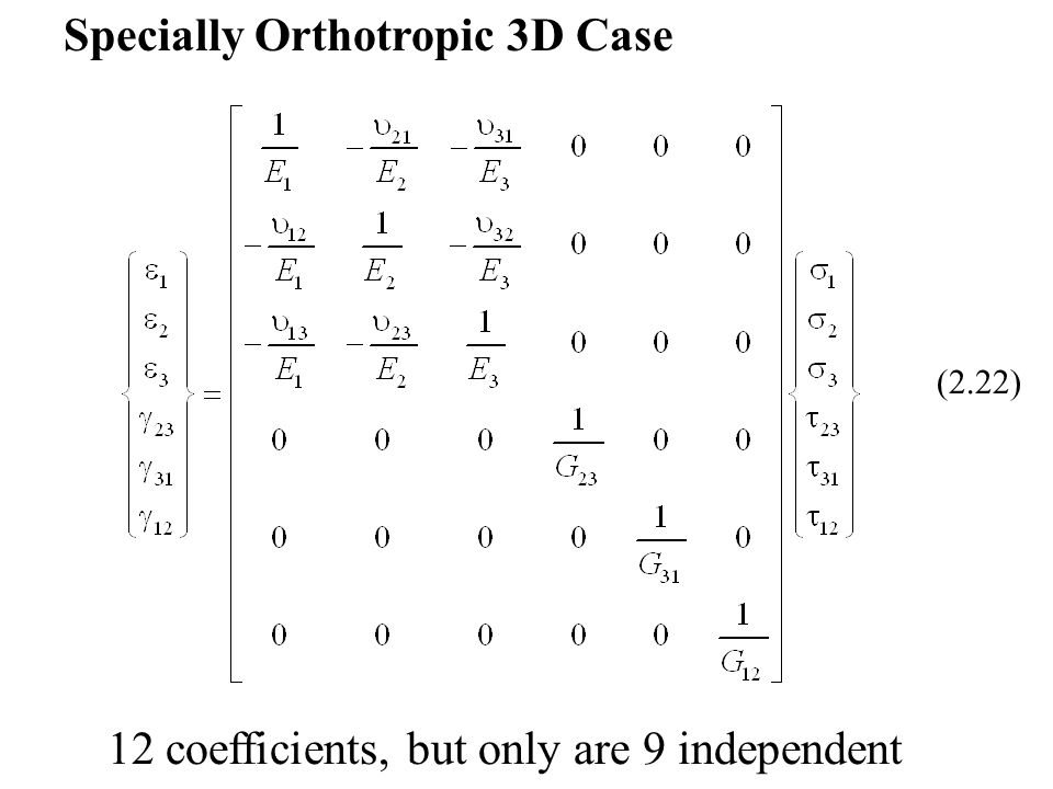 Specially Orthotropic 3D Case