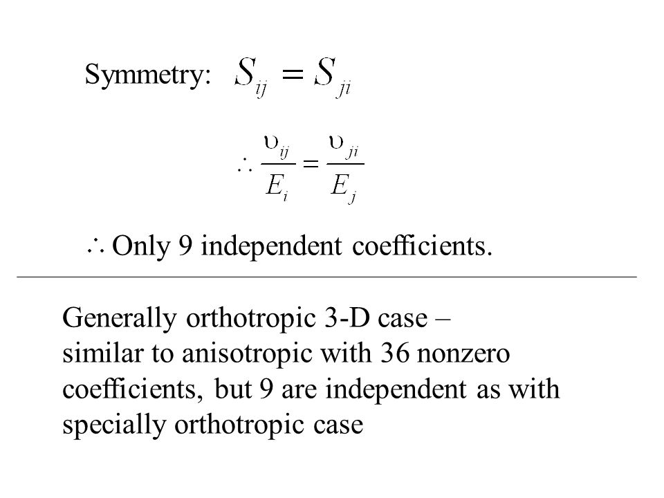 Symmetry: Only 9 independent coefficients.