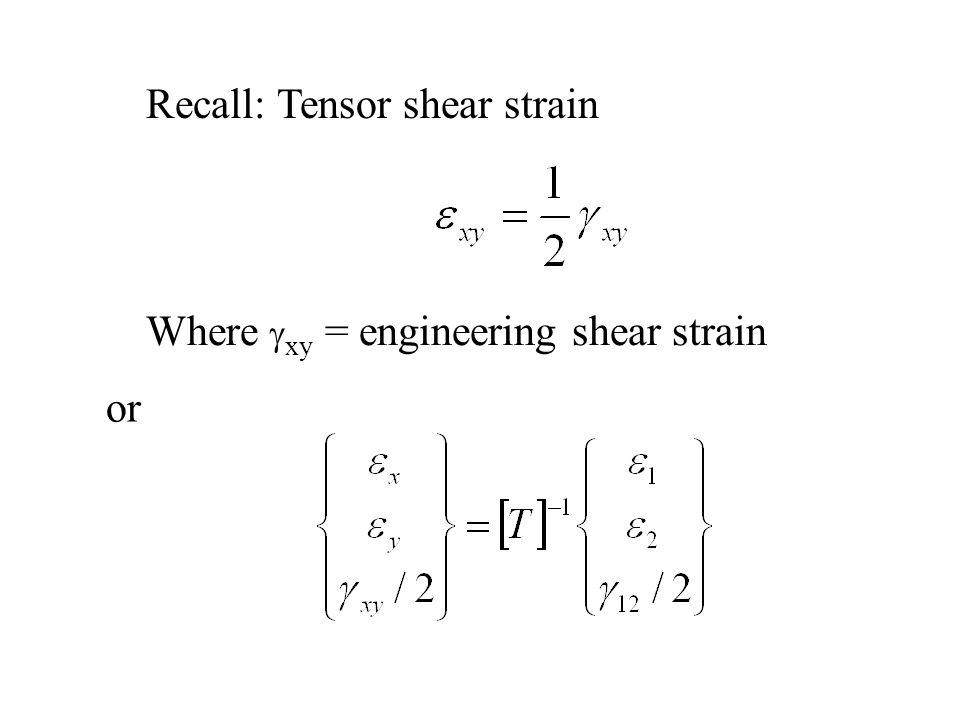Recall: Tensor shear strain