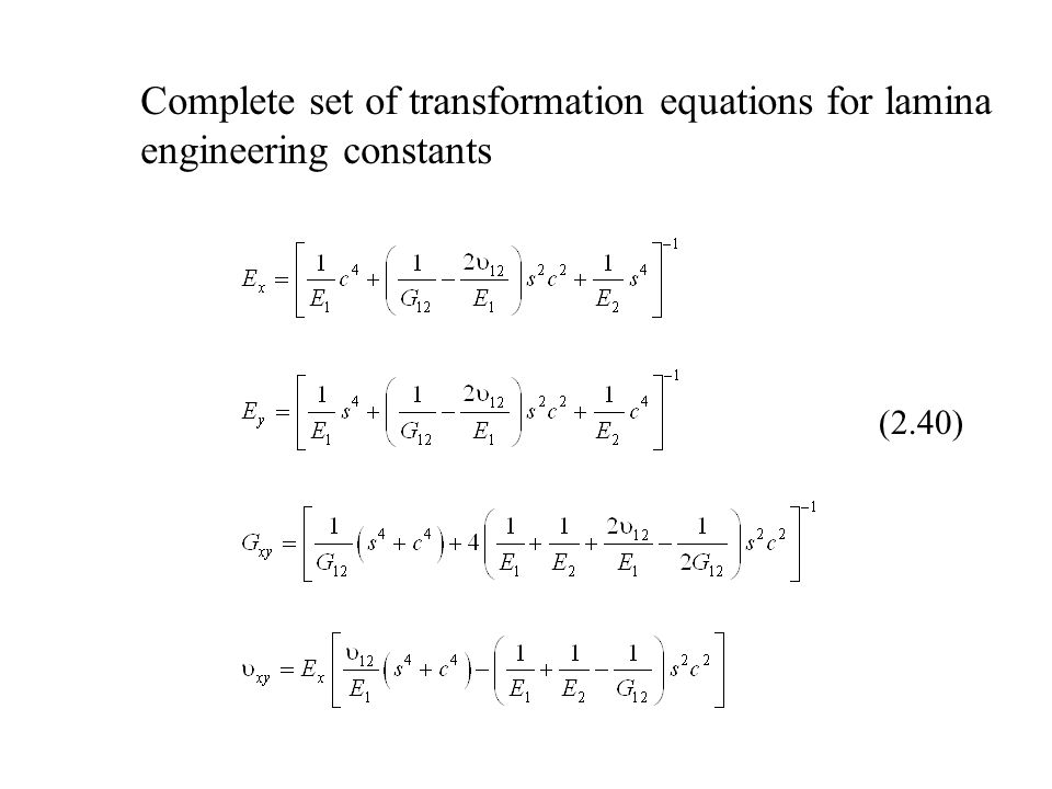 Complete set of transformation equations for lamina