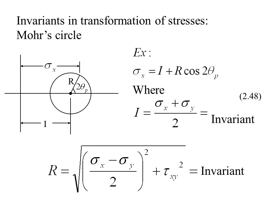 Invariants in transformation of stresses: Mohr's circle