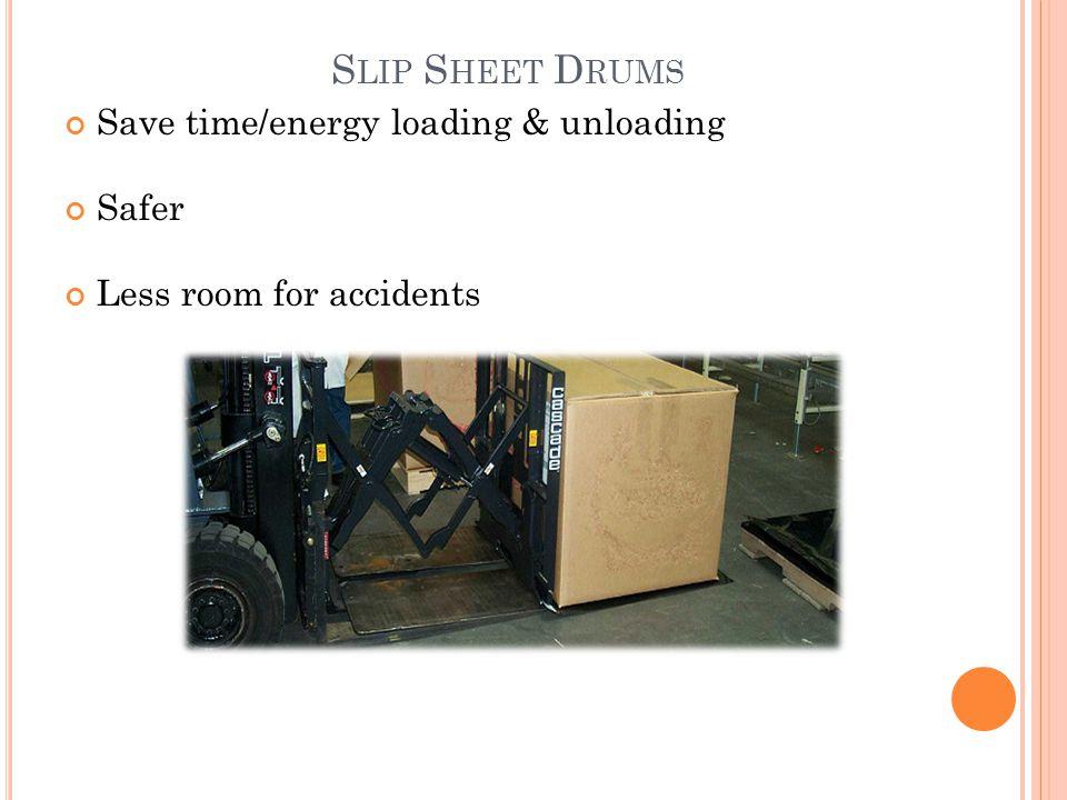 Slip Sheet Drums Save time/energy loading & unloading Safer