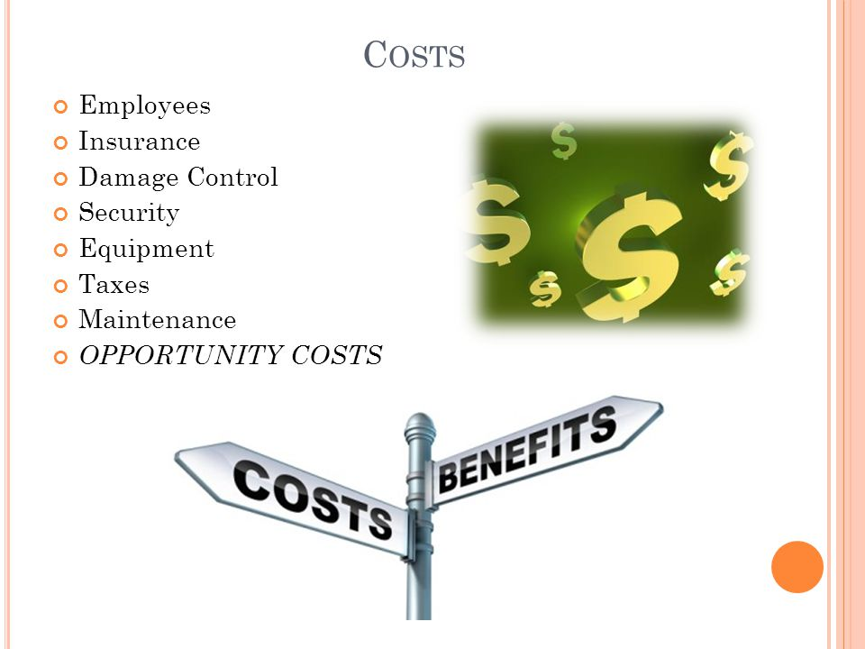 Costs Employees Insurance Damage Control Security Equipment Taxes