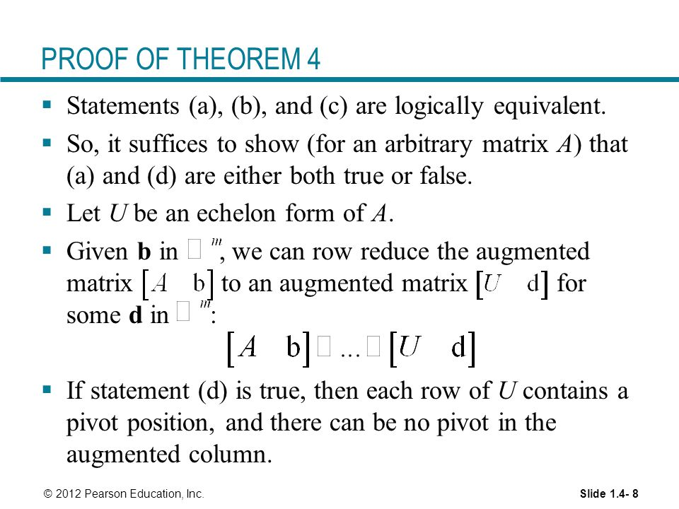 PROOF OF THEOREM 4 Statements (a), (b), and (c) are logically equivalent.