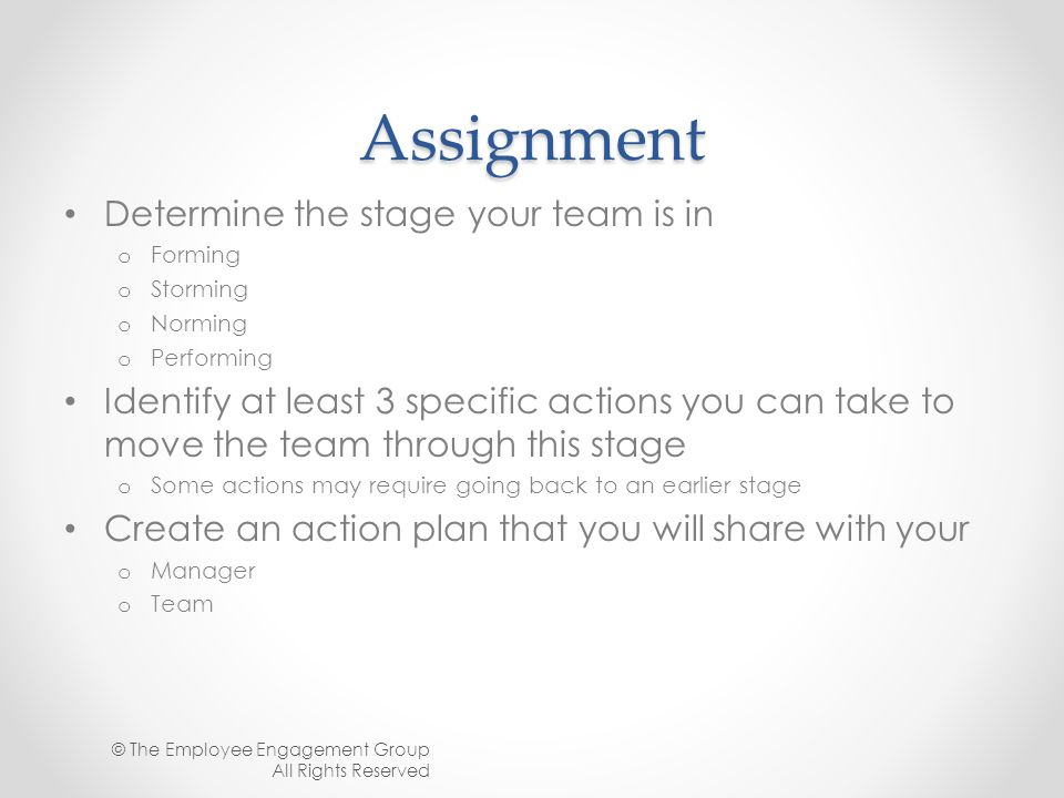 Assignment Determine the stage your team is in