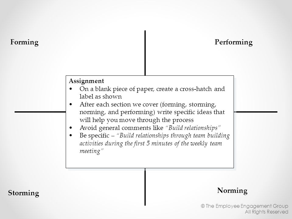 Forming Performing Norming Storming Assignment