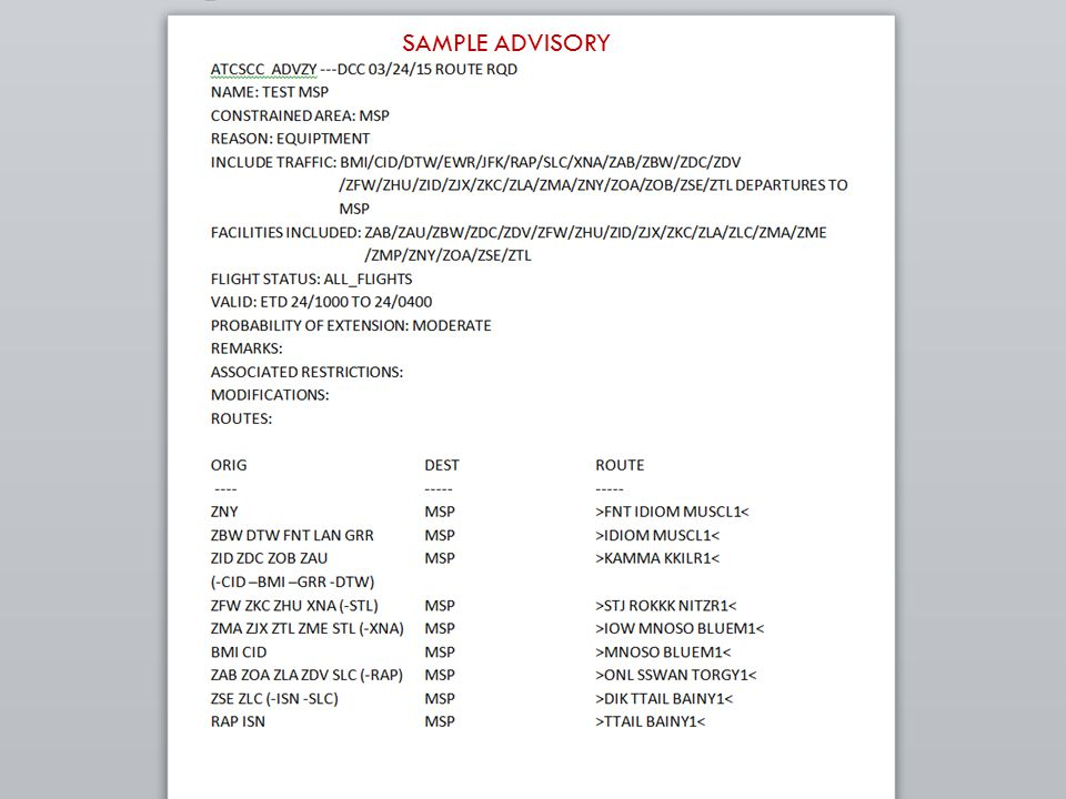 18 SAMPLE ADVISORY 11/1/13