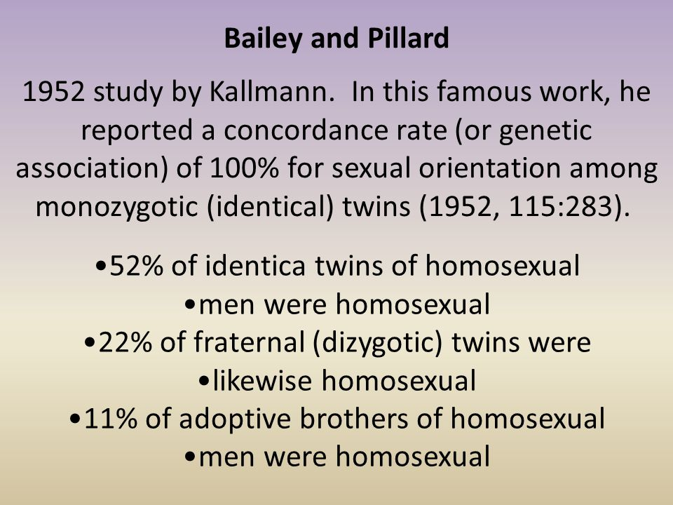 52% of identica twins of homosexual men were homosexual