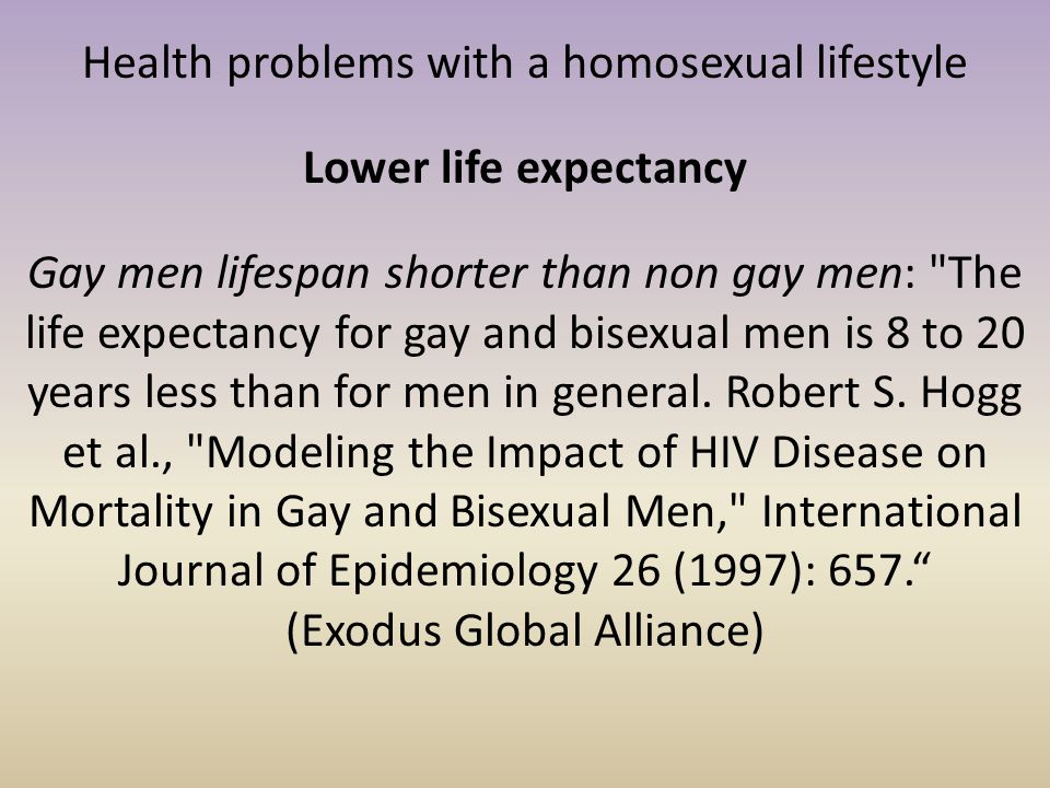 Health problems with a homosexual lifestyle