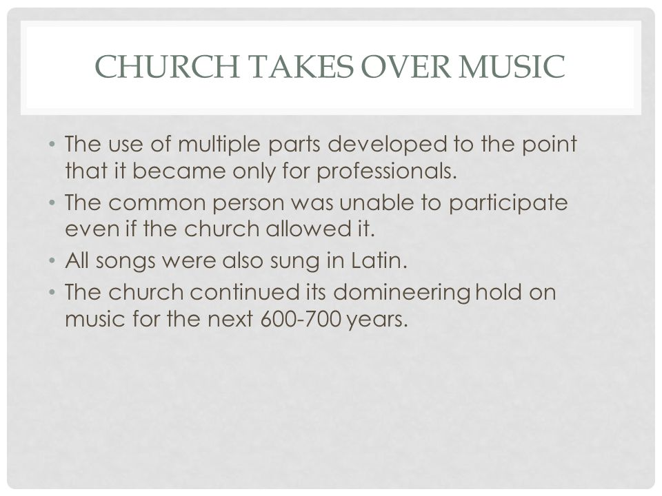 Church takes over music