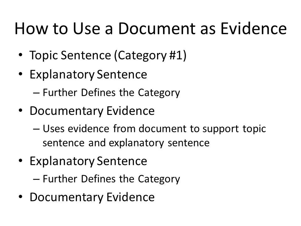 How to Use a Document as Evidence