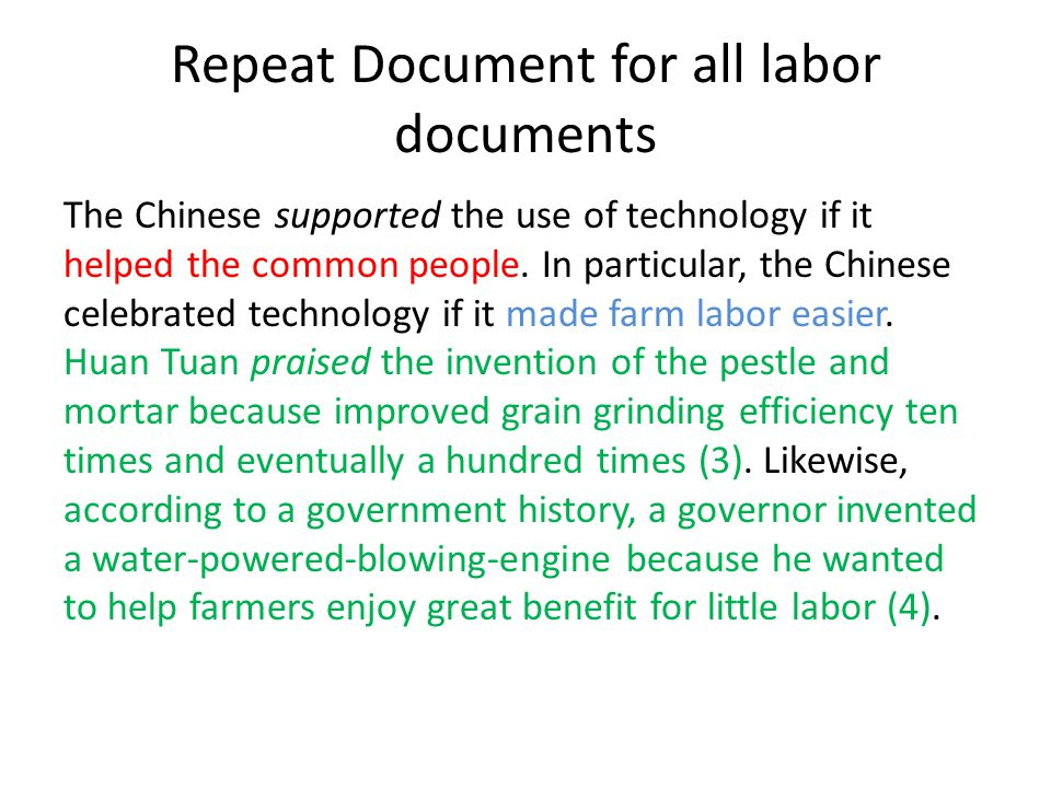 Repeat Document for all labor documents