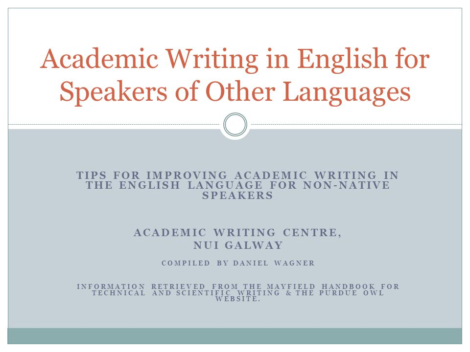 Academic Writing in English for Speakers of Other Languages