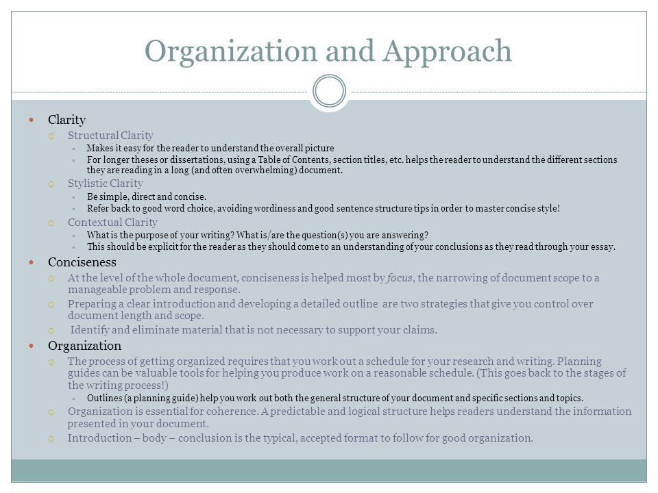 Organization and Approach