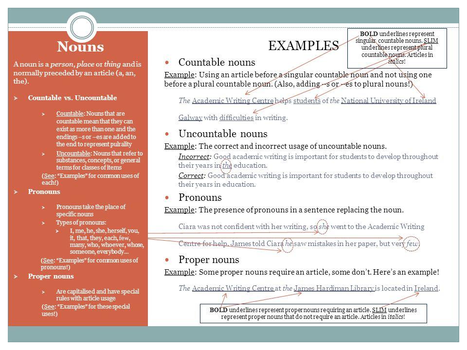Nouns EXAMPLES Countable nouns Uncountable nouns Pronouns Proper nouns