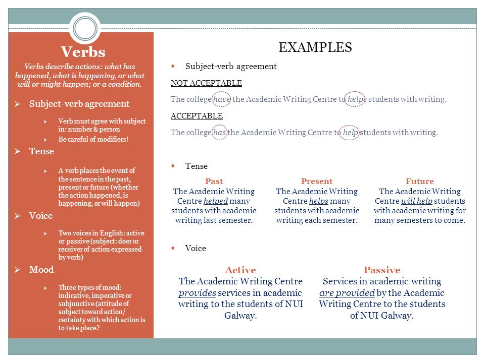 Verbs EXAMPLES Subject-verb agreement Tense Voice Mood Active