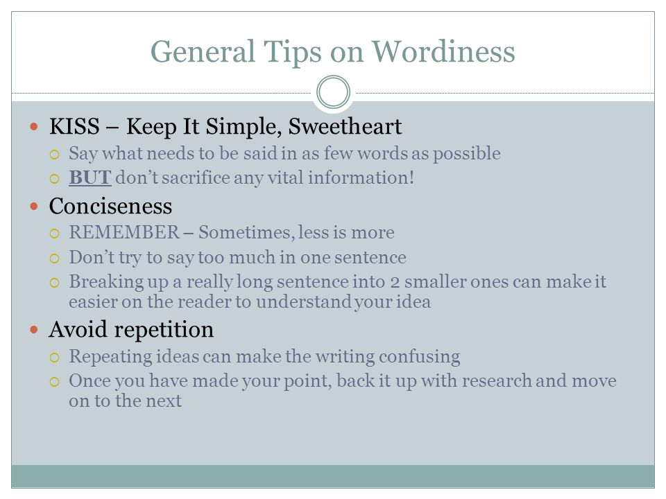 General Tips on Wordiness