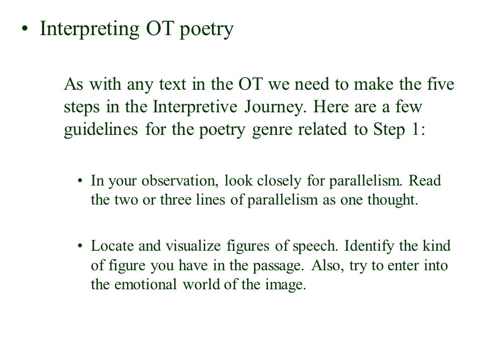 Interpreting OT poetry