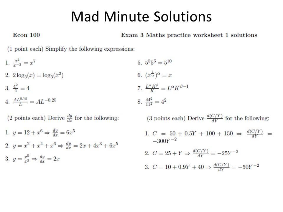 Mad Minute Solutions