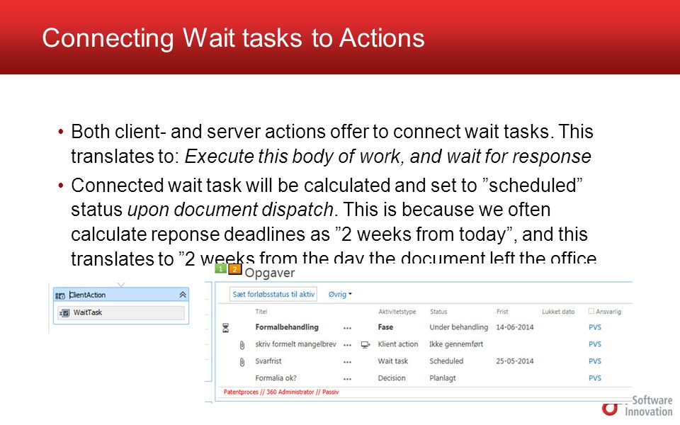 Connecting Wait tasks to Actions