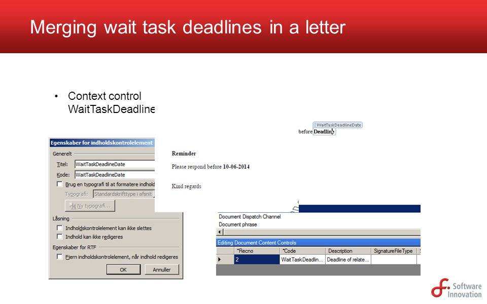 Merging wait task deadlines in a letter