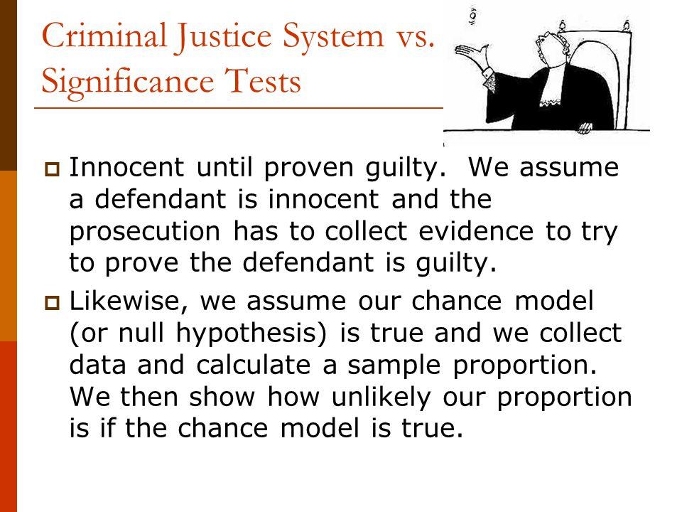 Criminal Justice System vs. Significance Tests