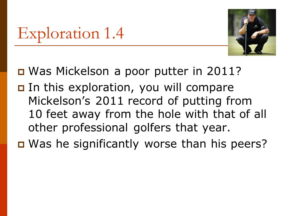 Exploration 1.4 Was Mickelson a poor putter in 2011