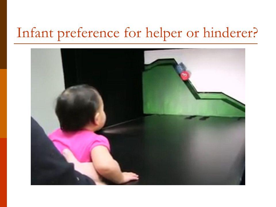 Infant preference for helper or hinderer