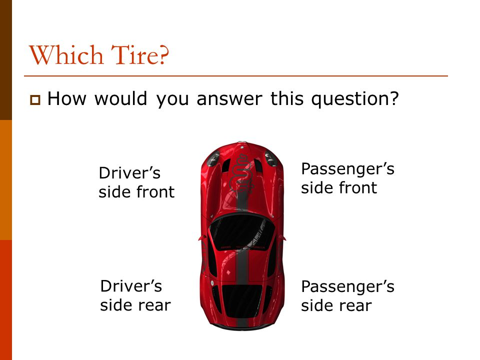 Which Tire How would you answer this question Passenger's Driver's