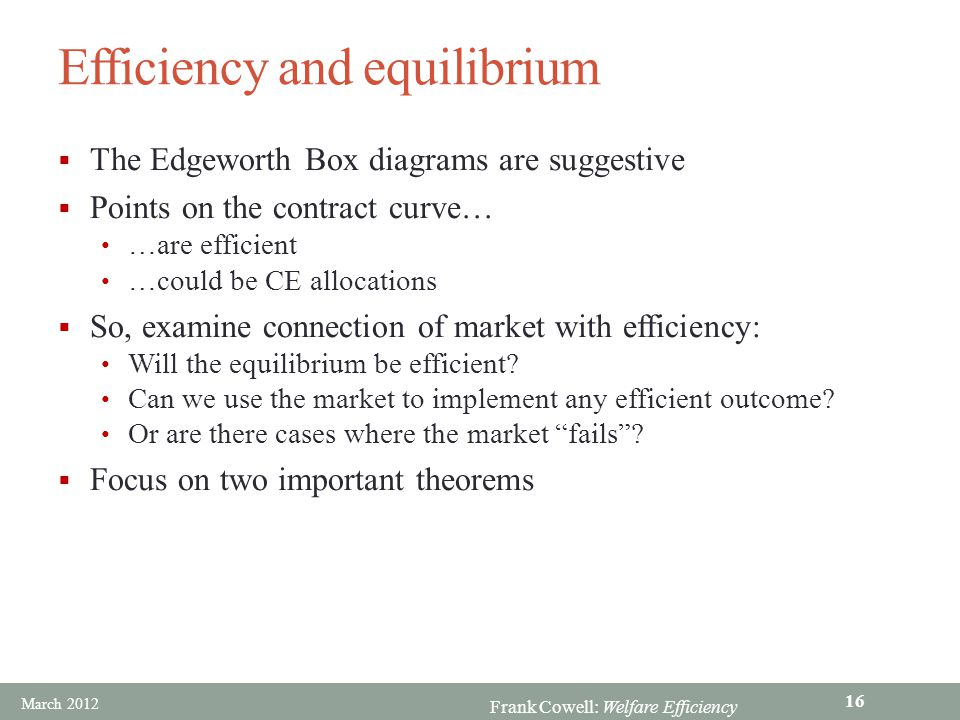 Efficiency and equilibrium