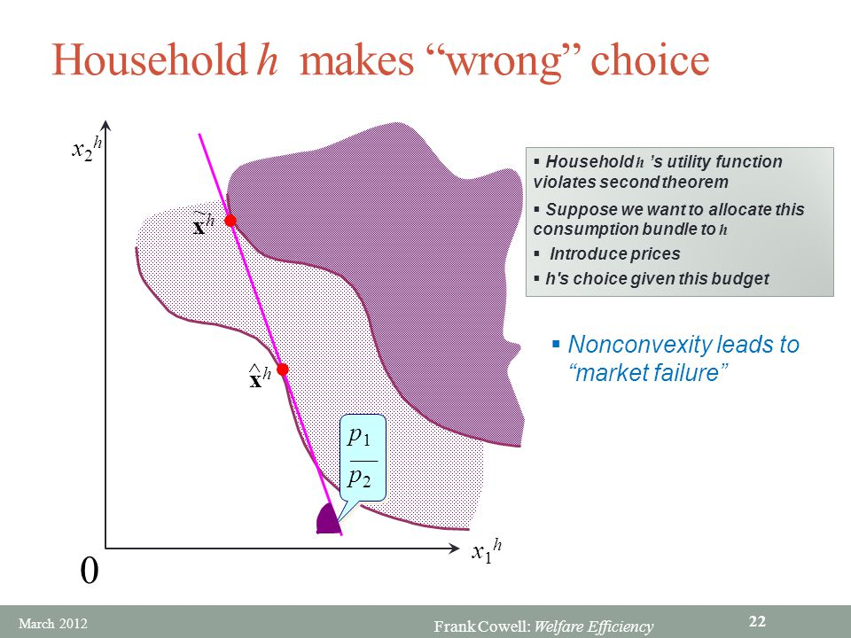Household h makes wrong choice