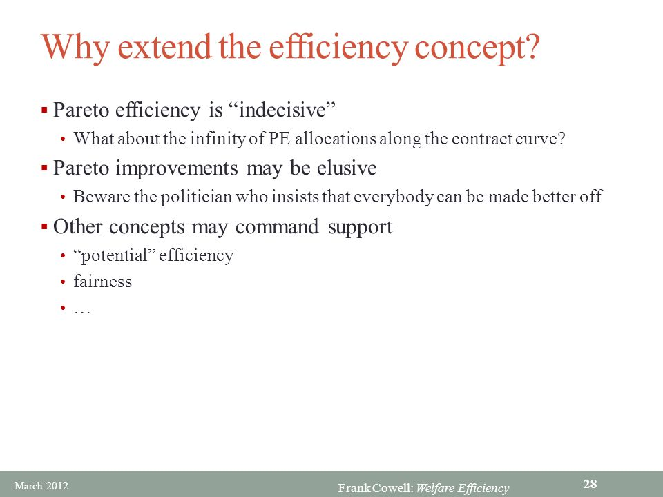 Why extend the efficiency concept