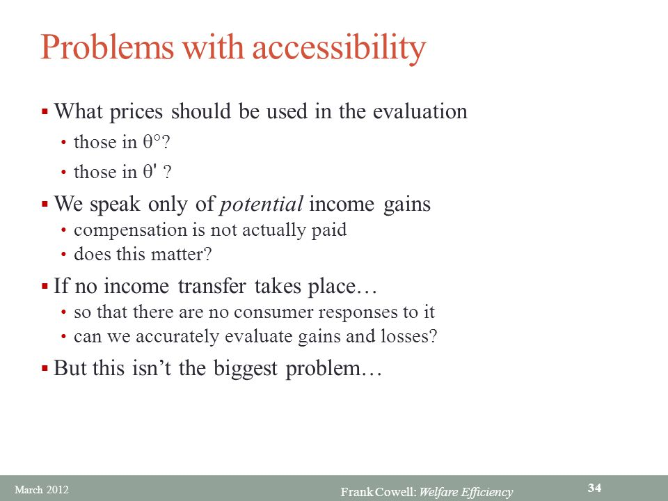 Problems with accessibility