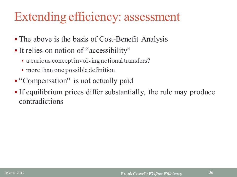 Extending efficiency: assessment