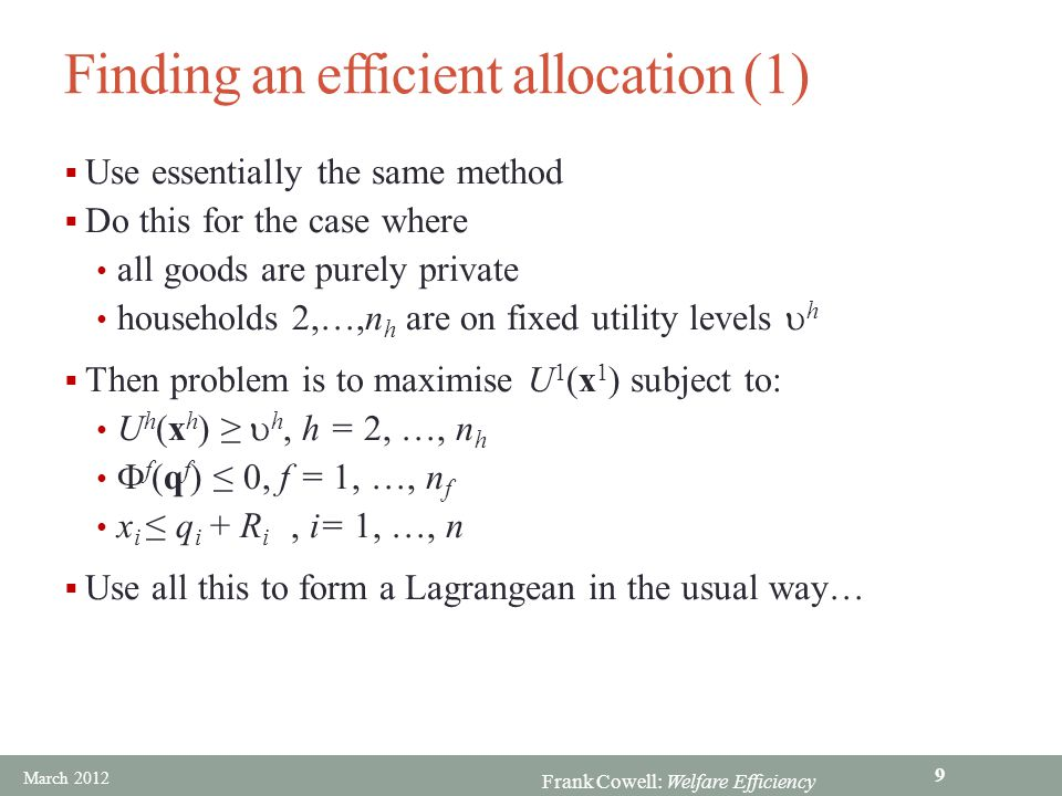 Finding an efficient allocation (1)