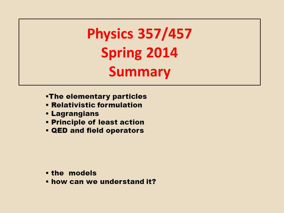 Physics 357/457 Spring 2014 Summary
