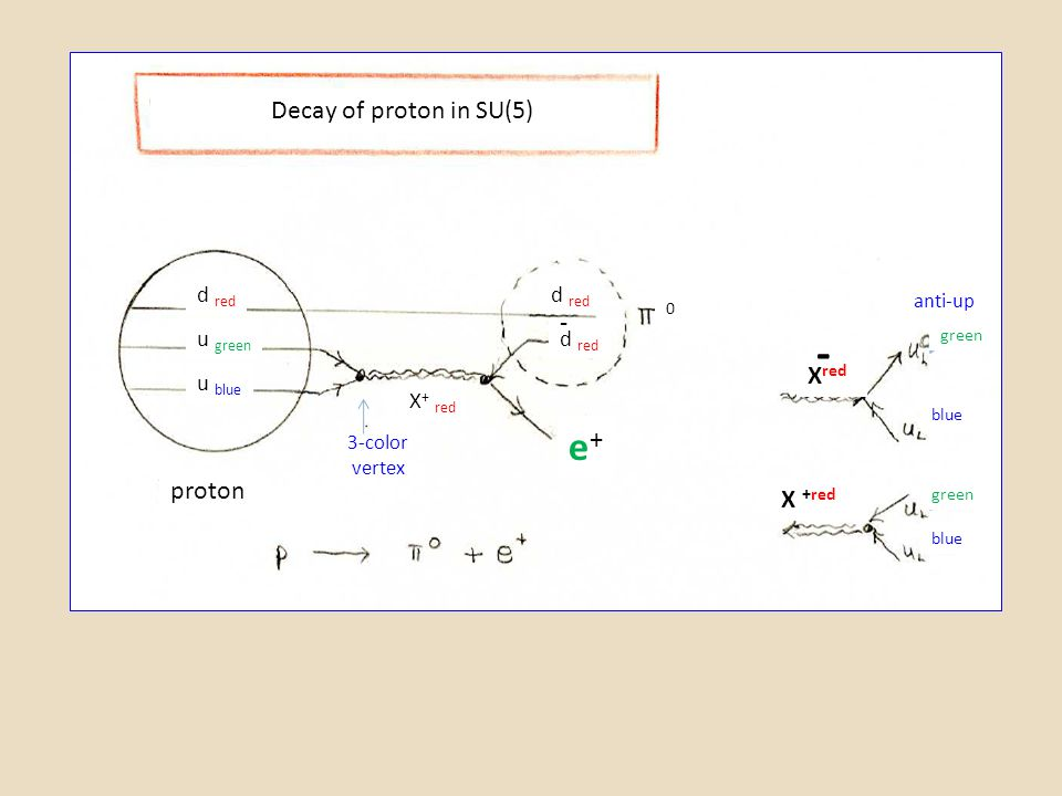 - e+ Decay of proton in SU(5) - Xred proton X +red d red d red u green