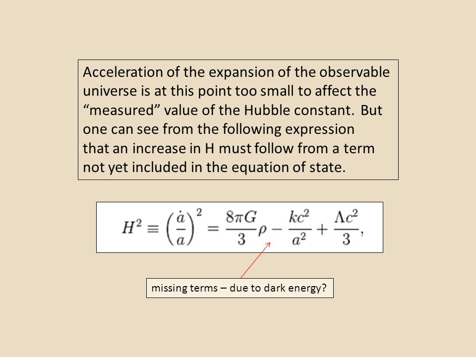 Acceleration of the expansion of the observable