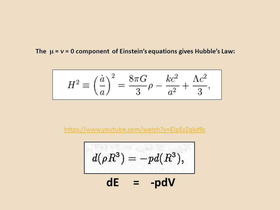 The  =  = 0 component of Einstein's equations gives Hubble's Law: