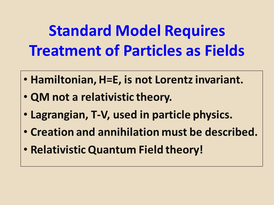 Standard Model Requires Treatment of Particles as Fields