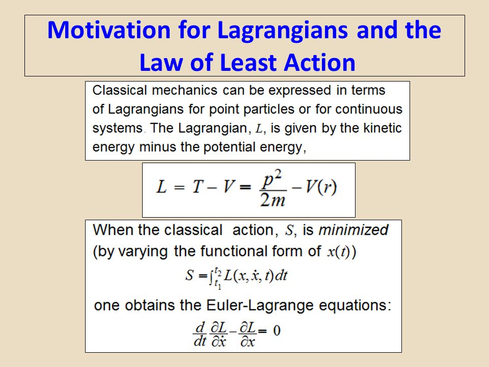 Motivation for Lagrangians and the Law of Least Action