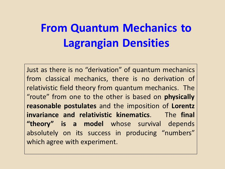 From Quantum Mechanics to Lagrangian Densities