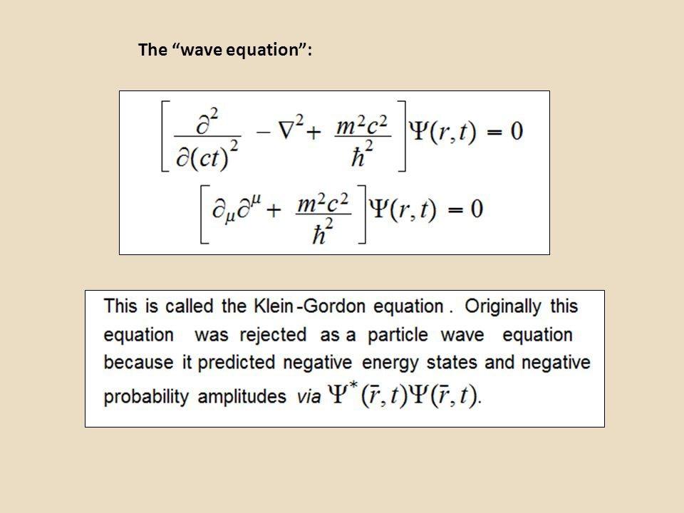 The wave equation :
