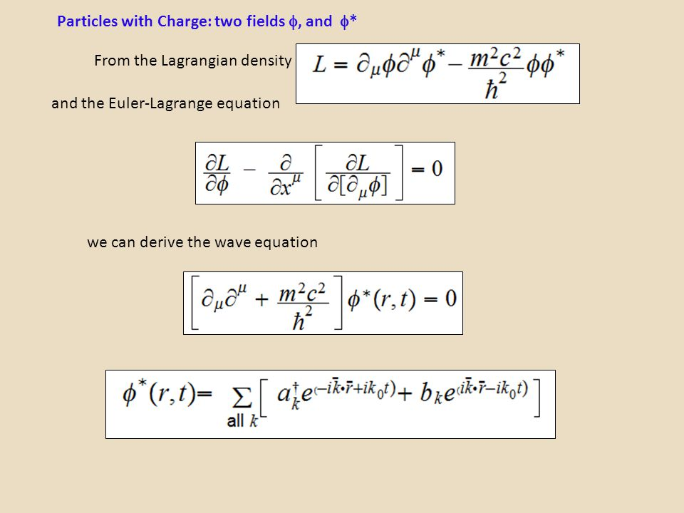 Particles with Charge: two fields , and *