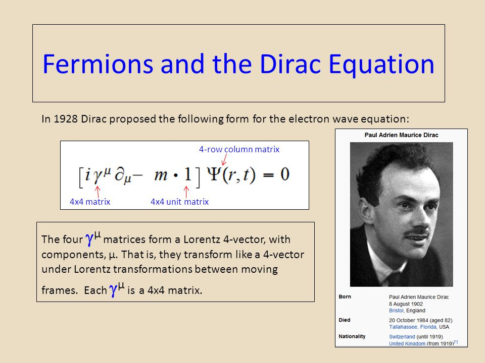 Fermions and the Dirac Equation