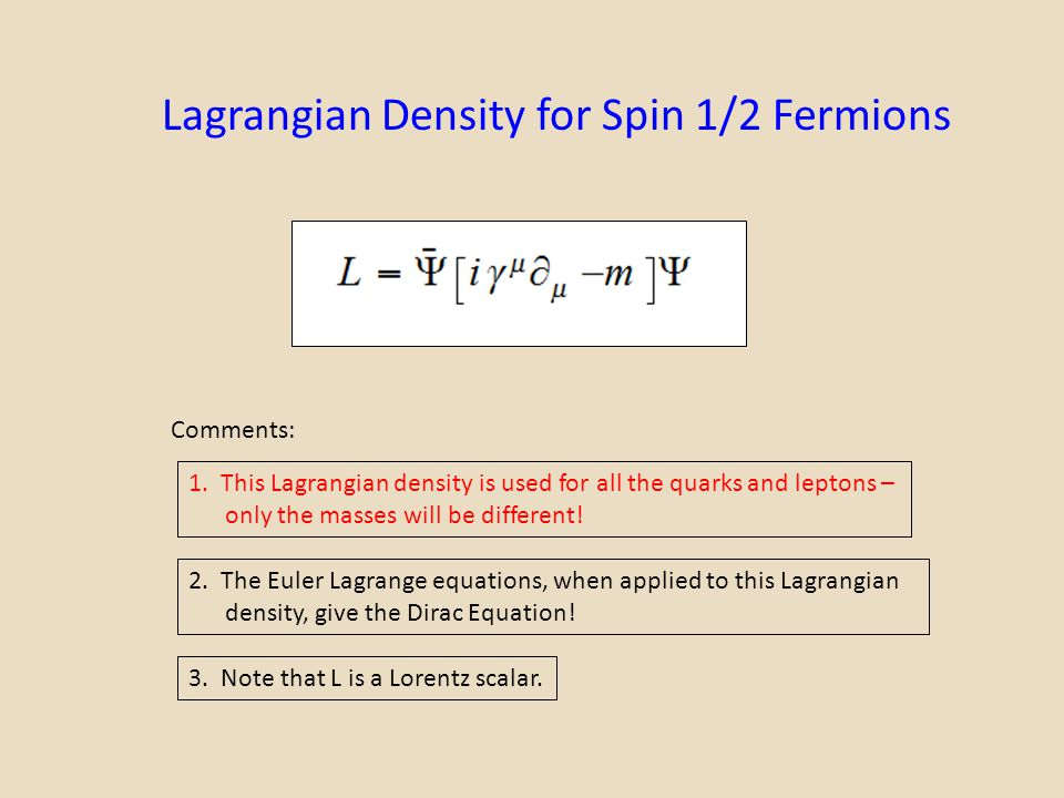 Lagrangian Density for Spin 1/2 Fermions