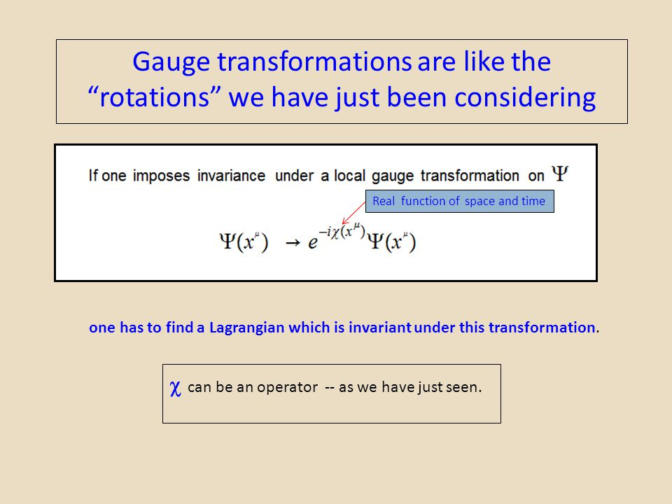 Gauge transformations are like the rotations we have just been considering